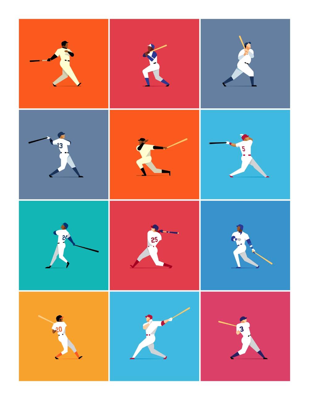 Home Run Kings Homerun Sport Illustration Giclee Print