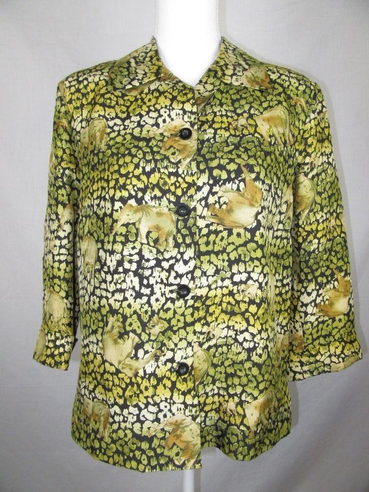 SILKLAND Petite Size 8 100% Silk Elephant Pattern Jacket Blouse Button Front  | eBay