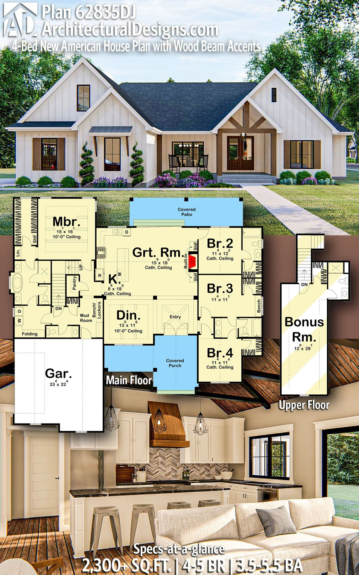Plan 62835dj 4 Bed New American House Plan With Wood Beam Accents In 2020 Craftsman House Plans House Plans Farmhouse House Blueprints