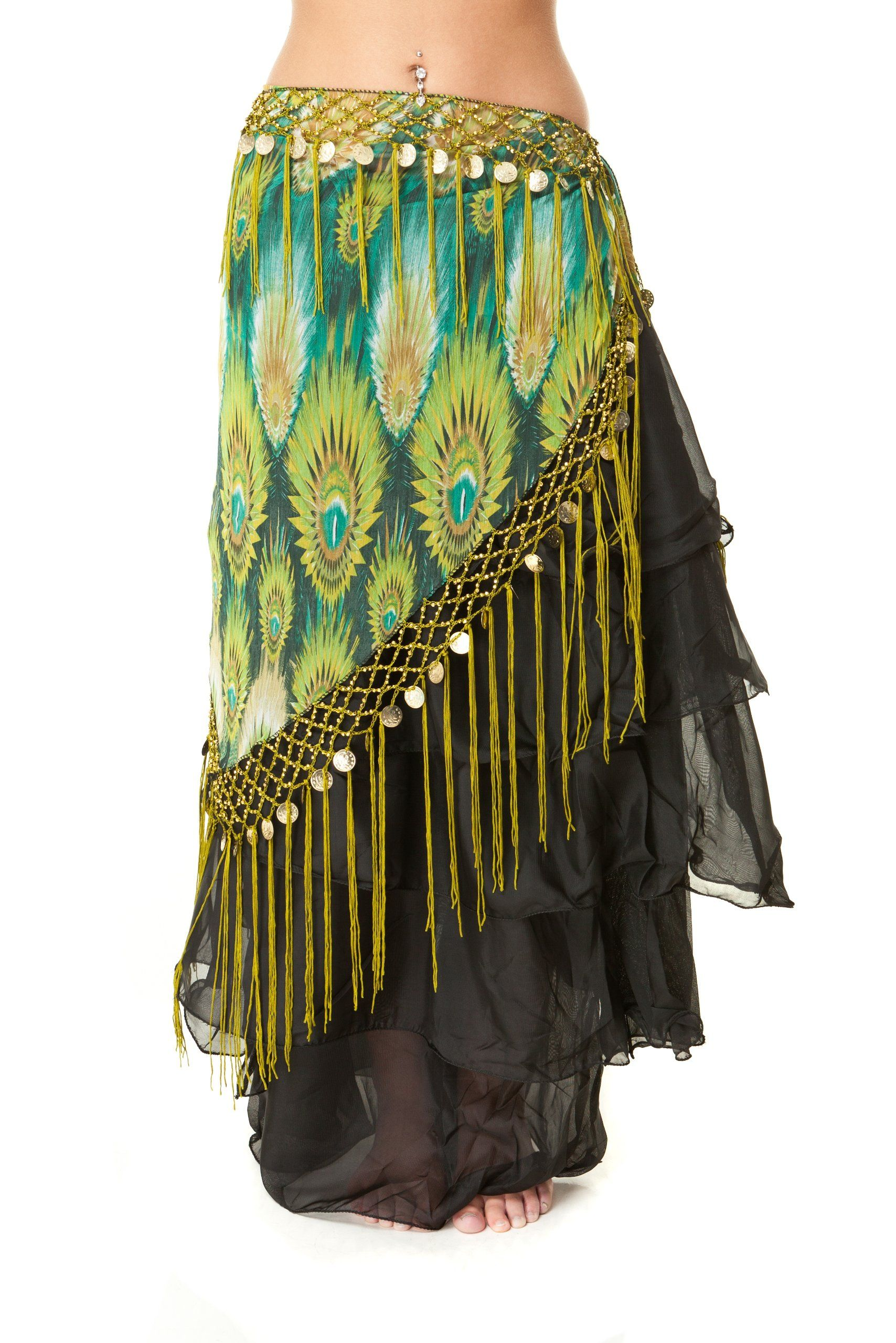 Amazon.com  Tribal Fringe Fusion Belly Dance Hip Scarf - V Shaped ... 53457ddd9