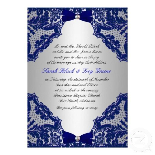 navy blue and silver wedding invitation | beautiful, lace and colors, Wedding invitations