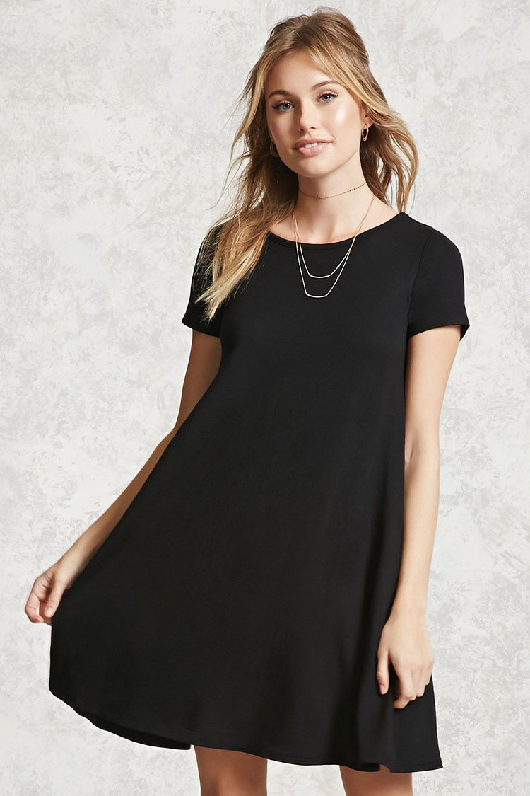 0a23d368beb8 Forever 21 Contemporary - A French terry knit swing dress featuring a round  neckline, short sleeves, a cutout back, and a flared hem.