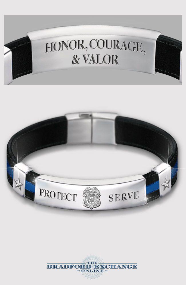 Police Officer Leather Bracelet