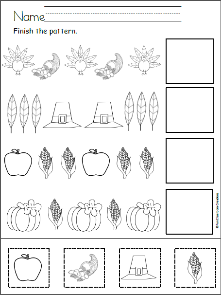 Thanksgiving Patterns Cut and Paste For Teachers