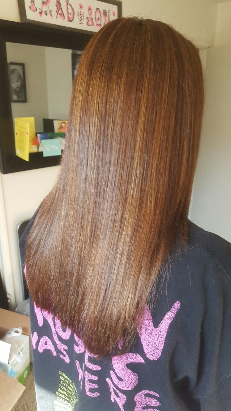 Wella 5 3 With 7w Highlights And 5rv 507 Underneath Hair