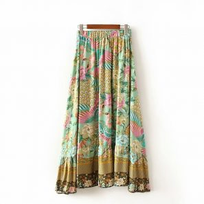 High Elastic Waist A-Line Vintage fashion floral print beach skirt - eFashionova