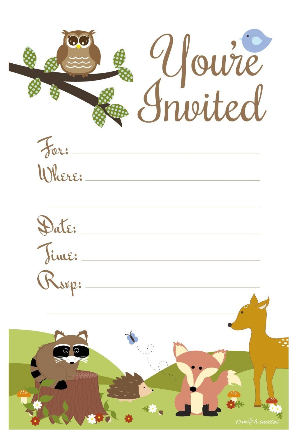 Amazon.com: Woodland Animals Baby Shower or Birthday Invitations ...