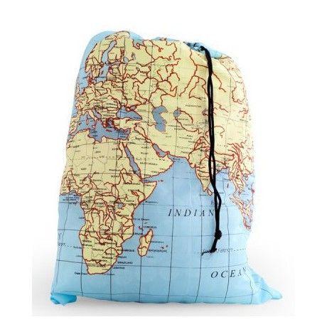 Sac à linge pliable Carte du Monde #voyage | Accessoires pour