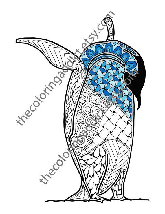 Penguin coloring sheet, animal coloring pdf, zentangle colouring ...