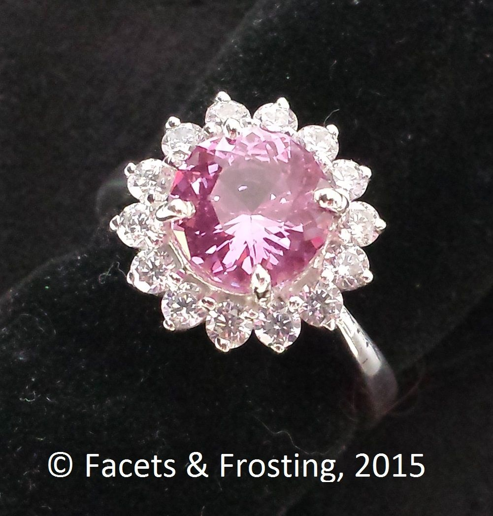 Sold Syn Sapphire Flower Ring 225 Cts 8mm Set With Czs