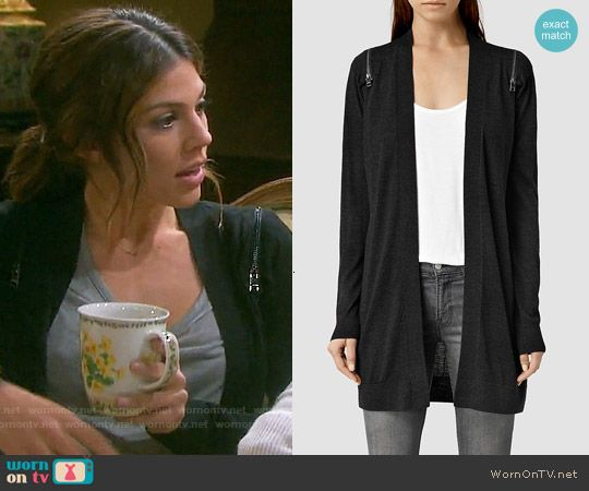 Abigail S Black Cardigan With Zip Shoulders On Days Of Our Lives