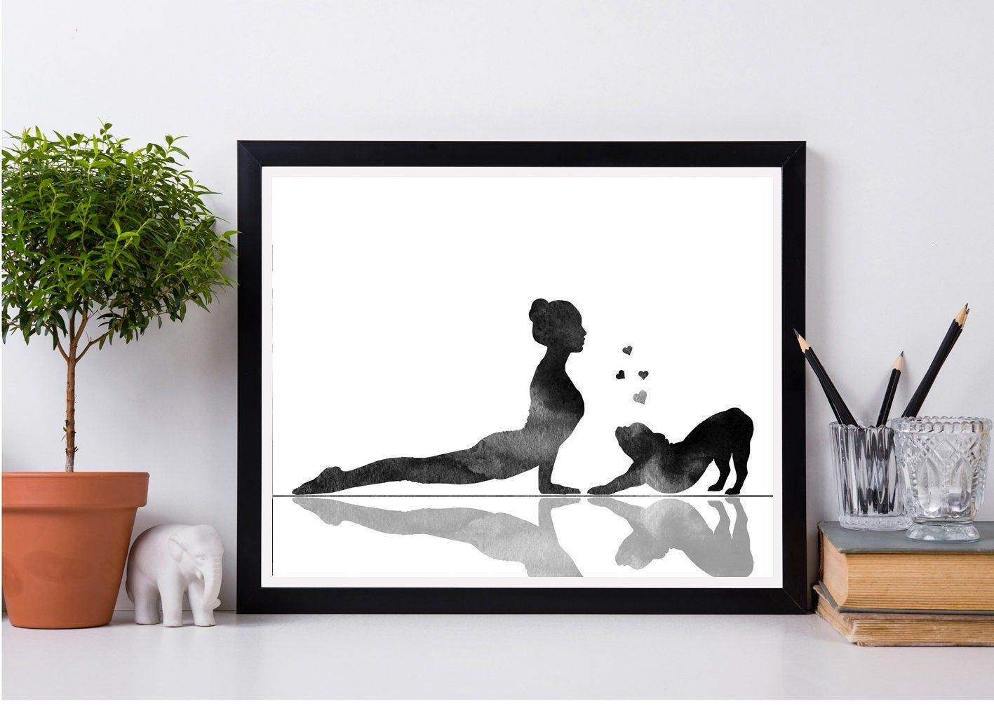 Yoga room decor, Woman with dog decor, Yoga exercises, French bulldog print, Yoga dog print, Yoga print wall art, Instant download -   19 fitness Room mall ideas