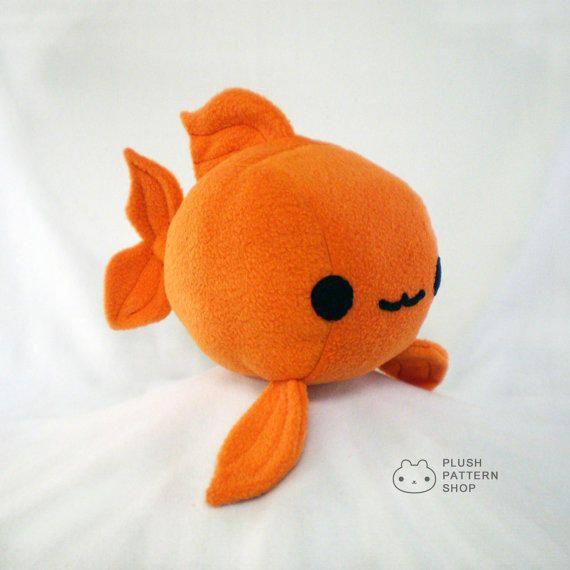 Plush goldfish plushie sewing tutorial fish pattern pdf for Fish stuffed animals