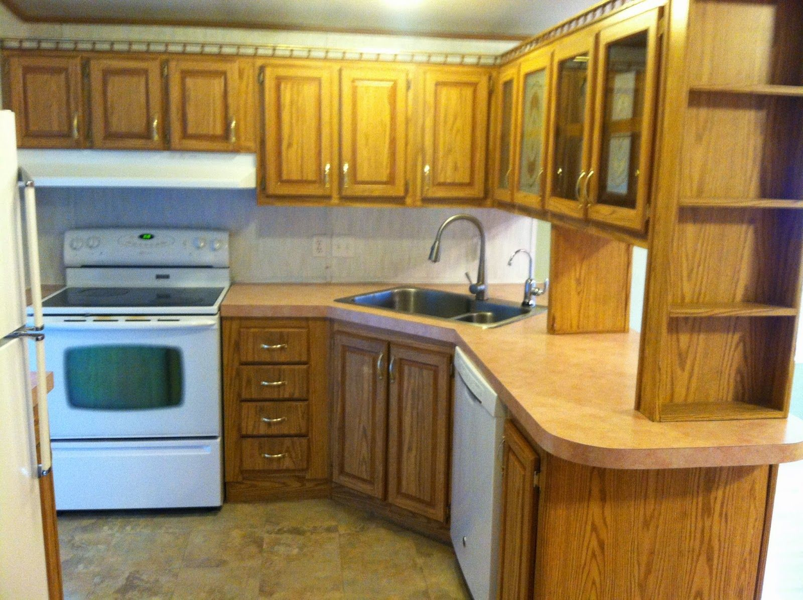 Roughly kitchen makeover mobile home painting fake wood
