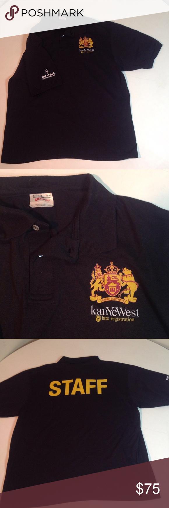 Kanye West Late Registration Staff Black Shirt Xl Black Shirt Black Polo Shirt Shirts
