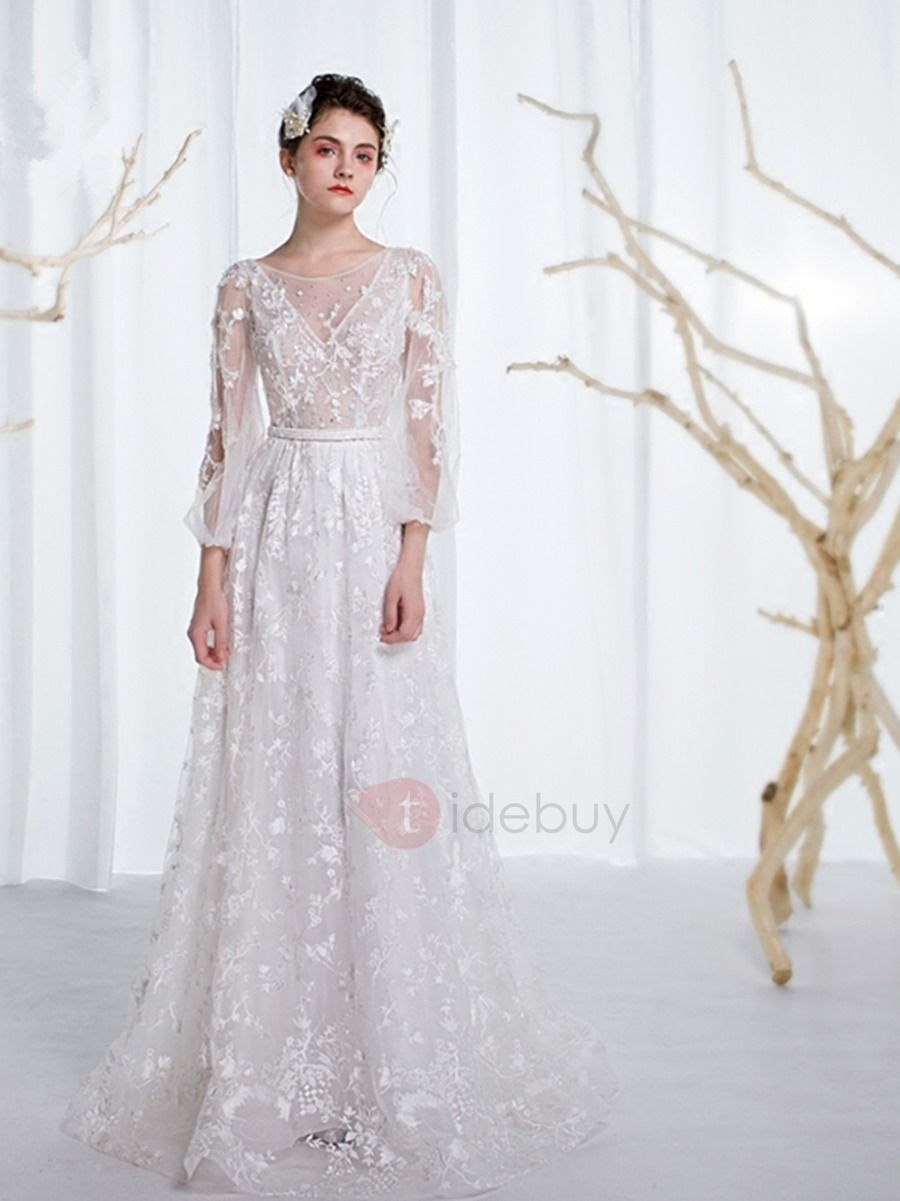 Charming scoop long sleeves lace a line wedding dress pinterest
