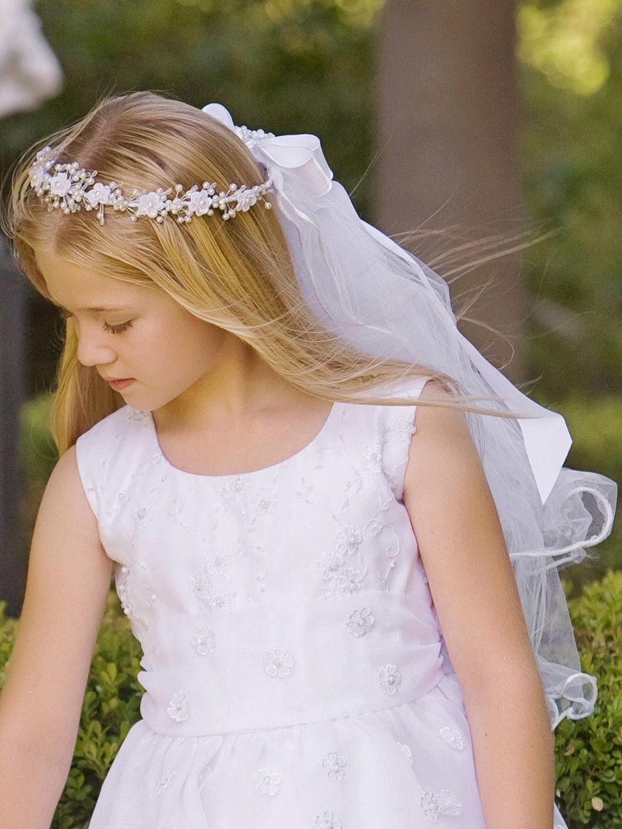 Corded rosebuds w bead accents u satin ribbon communion veil