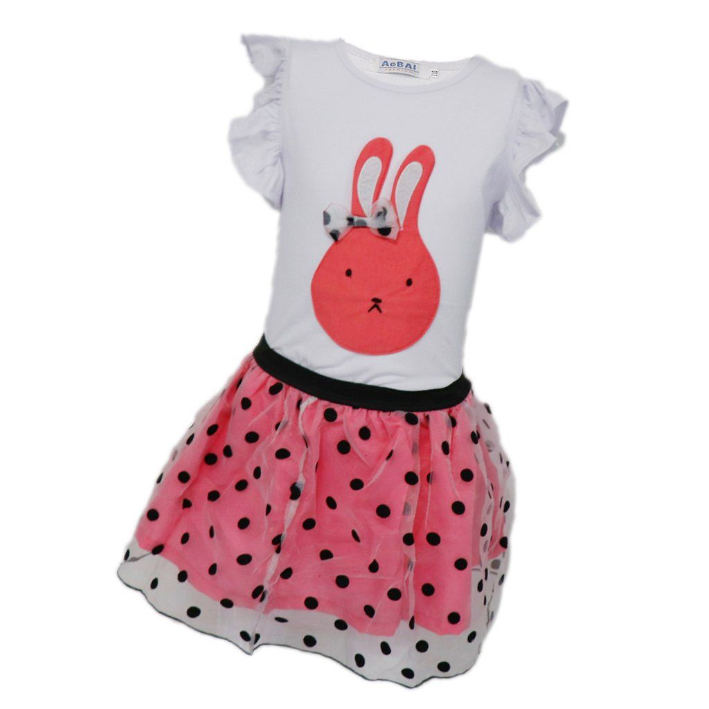 Magideal pcs cute kids girls dress sets rabbit ruffles tshirt
