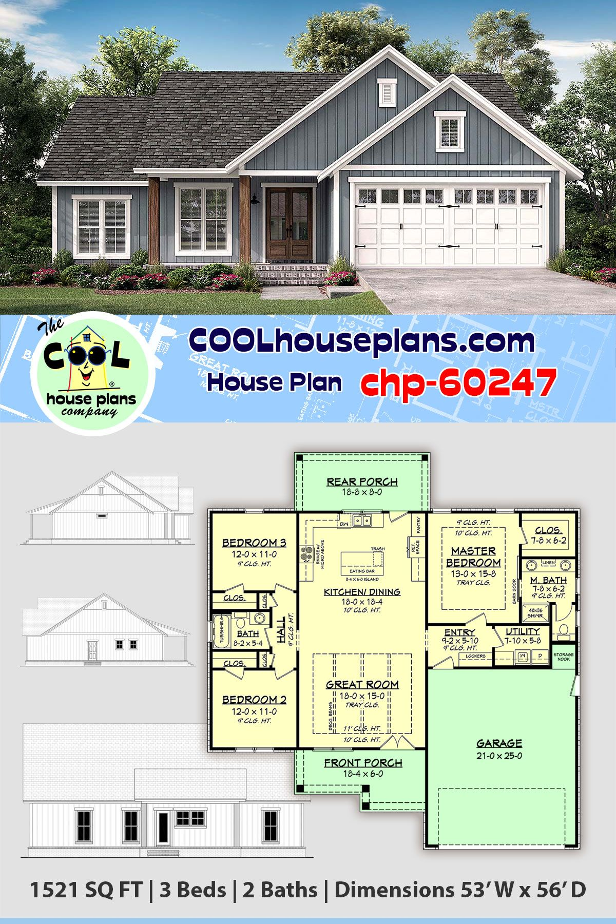 Traditional Home Plan Chp 60247 1521 Sq Ft 3 Bedrooms 2