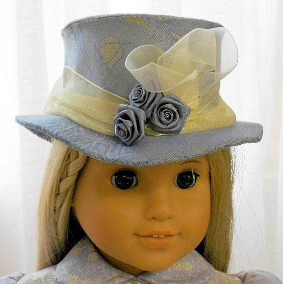 American Girl Doll Clothes - Doll Hat - Slate Blue Top Hat from the Mad Hatterie #dollhats