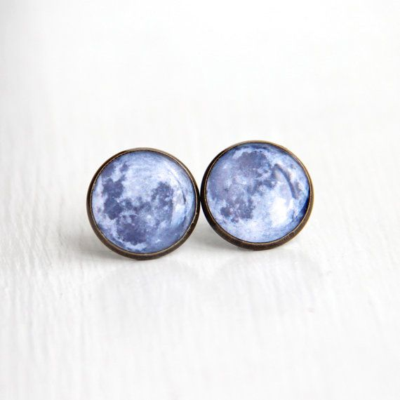Full Moon Stud Earrings, Solar System Jewelry, Space Earrings Studs, Geek Jewelry, Astronomy via Etsy