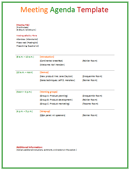 MeetingAgendaTemplate  Agendas    Template And
