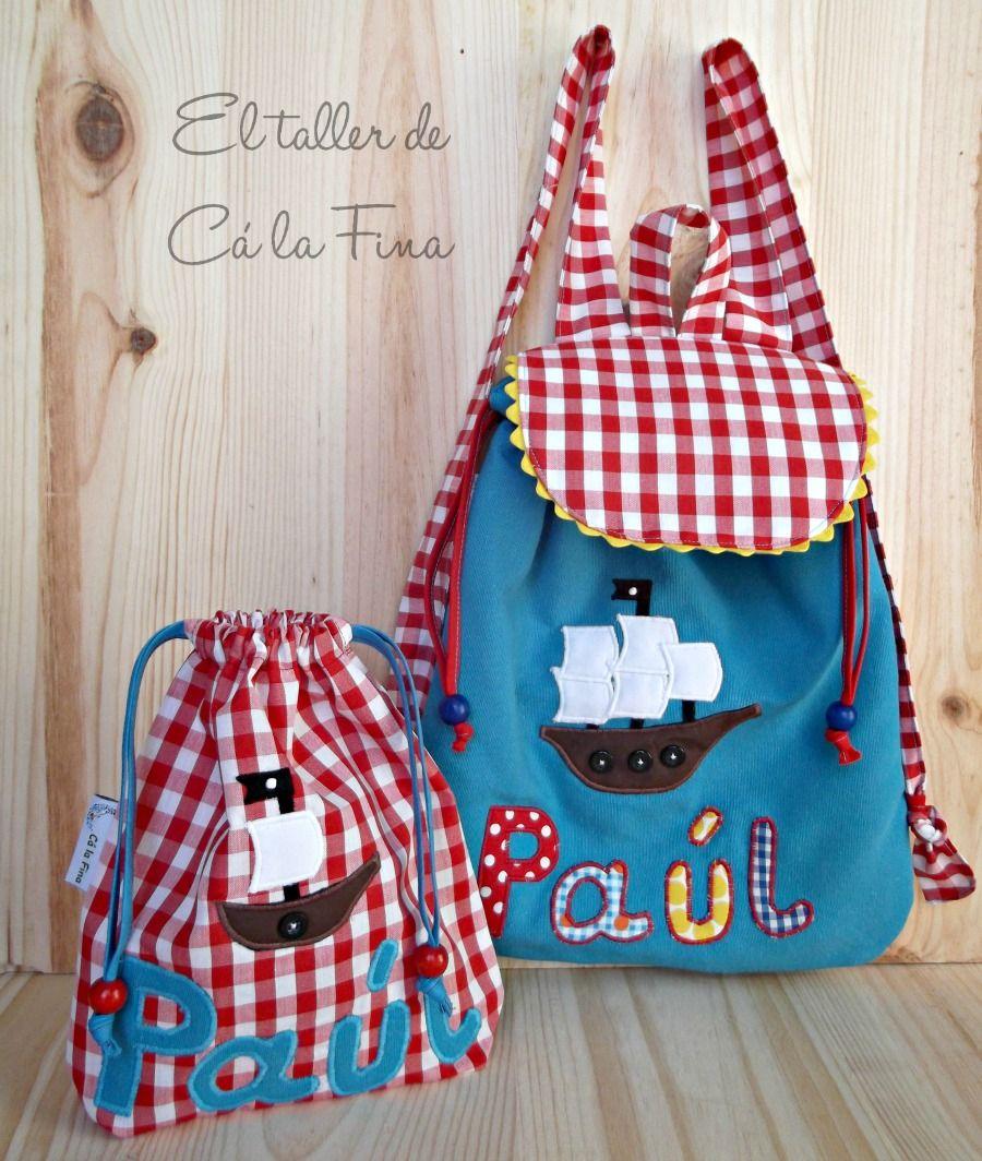 a5118b190 Conjunto de mochila de guardería y bolsita de merienda personalizado para  Paúl  mochilasguarderia  bebes