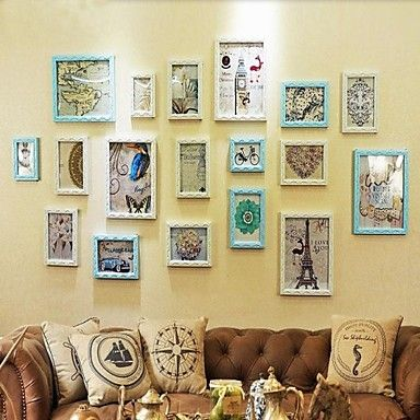Sky Blue with White Color Photo Frame Collection Set of 18 - USD ...