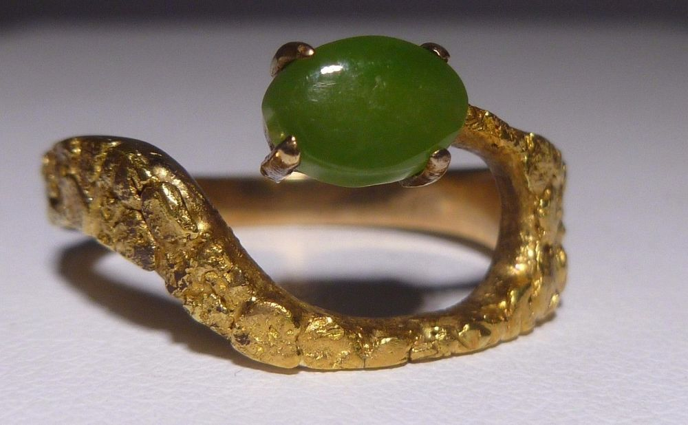 Vtg 10k 21k Jade Ring Yellow Gold Nugget Ring Genuine Green Jade Estate Handmade Dome Gold Nugget Ring Jade Ring Jade Jewelry