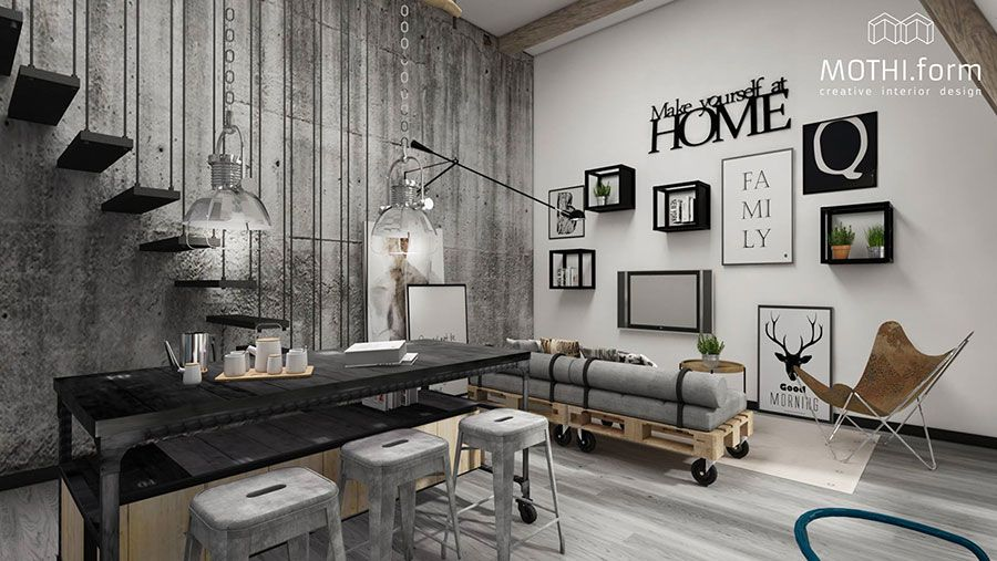 60 idee per colori di pareti del soggiorno progetti da for Appartamento design industriale