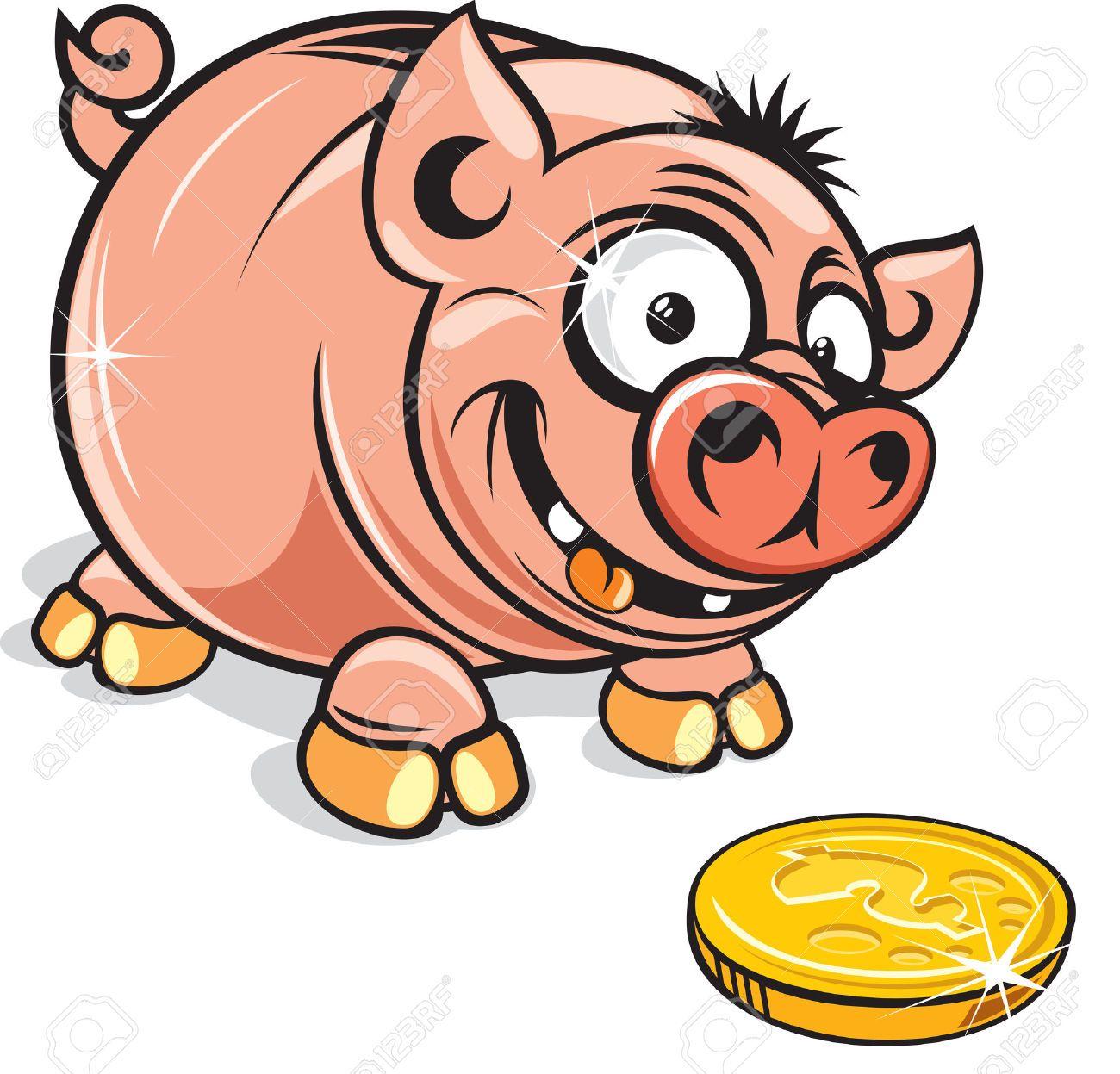 funny cartoon greedy piggy bank vector clip art royalty free