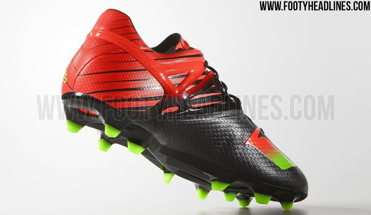 c754056884 The new black   red Adidas Messi Football Boot features an extremely bold  design. Leo Messi is set to wear the new Black   Solar Red   Green Adidas  Messi ...