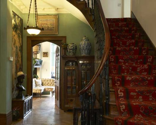 Edwardian hallway with curved staircase interior victorian decor also interiors bohemian rh pinterest