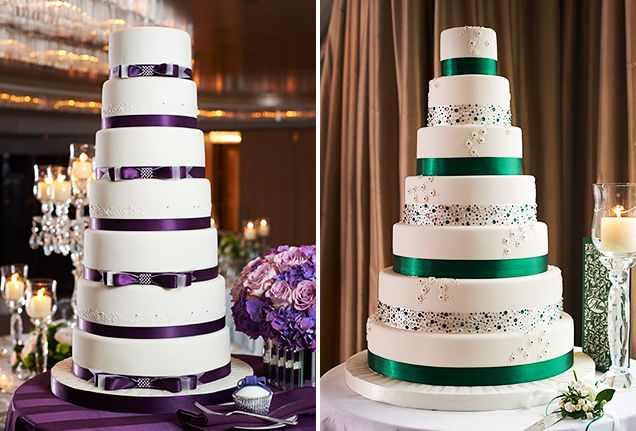 Wedding Cake Tasting Tips From GC Couture | Adorned with elegant satin ribbon and carefully placed crystals, the Adrienne and Amelia cakes make a regal statement. Choose ribbon that matches your wedding colour scheme