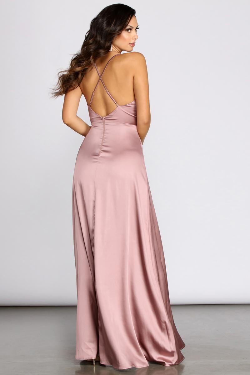 Tierra Cowl Neck Satin A Line Dress In 2020 Prom Dress Trends Prom Dresses Blush Pink Long Dress