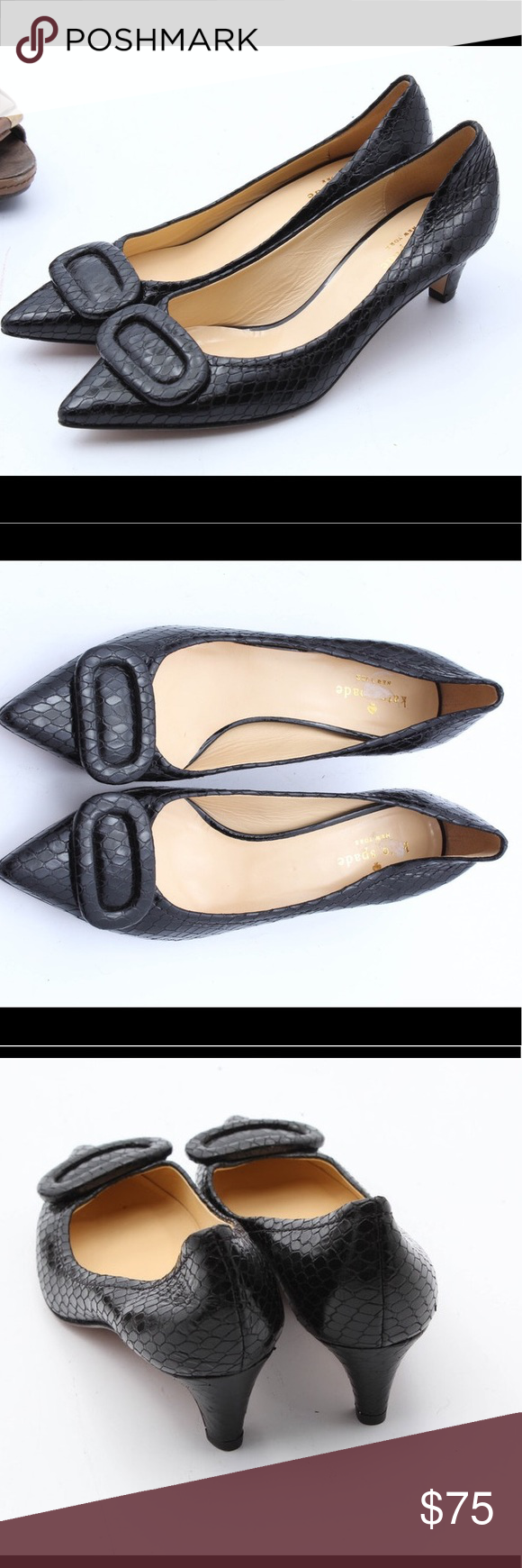 Kate Spade Black Kitten Heeled Pumps 7 Black Kitten Heels Kitten Heel Pumps Pumps Heels
