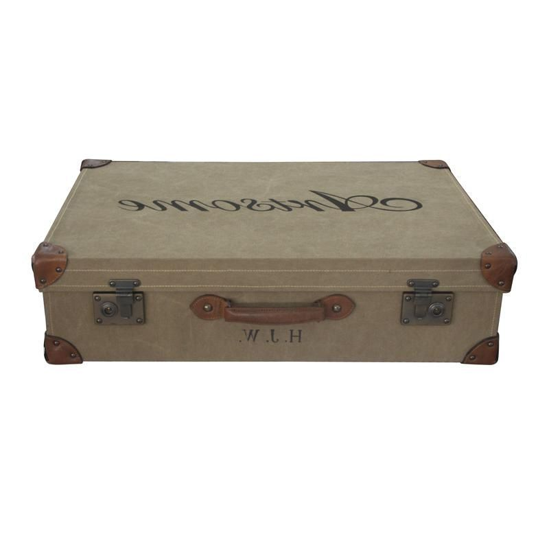 "30"" Ellie Ralph Chest Canvas and Leather Trunk Box Solid Wood Vintage Hand Made #WorldBazaarExotics"