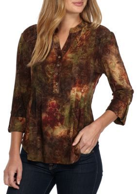 f1763bb95594d0 New Directions Women s Petite Size 3 4 Roll Tab Henley With Floral Jacquard  - Olive Rust - Pl