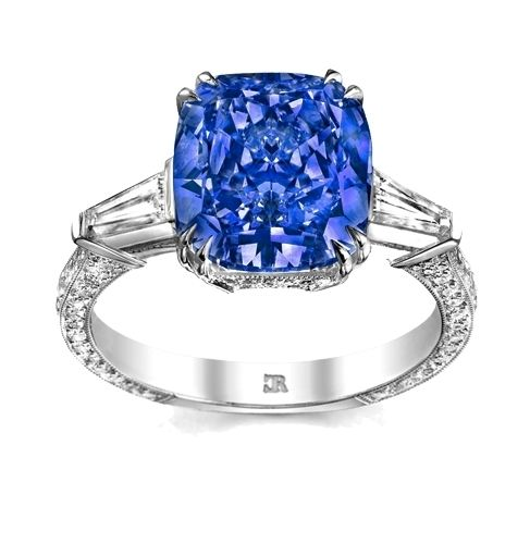Willow ring. Featuring a rectangular cushion cut Ceylon sapphire, set with tapered double claws, and accompanied by tapered baguette shoulders and a 3 sided pave diamond set shank. Fully handmade and exclusive to Charles Rose. #CharlesRoseMoment #diamonds #finejewellery#luxuryjewellery #handmadejewellery#dressring #dressring