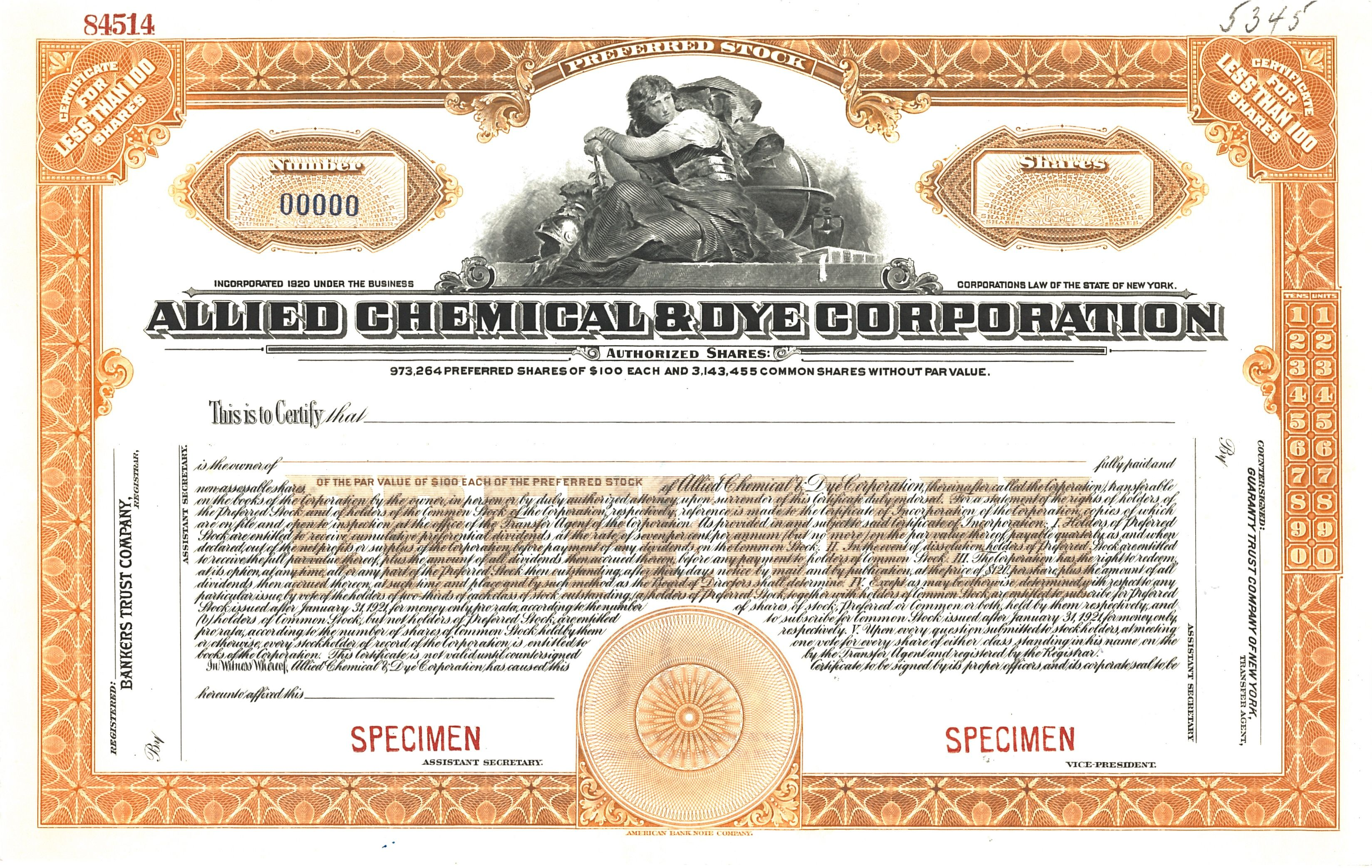 Allied Chemican & Dye Corporation preferred stock certificate, 1936 ...