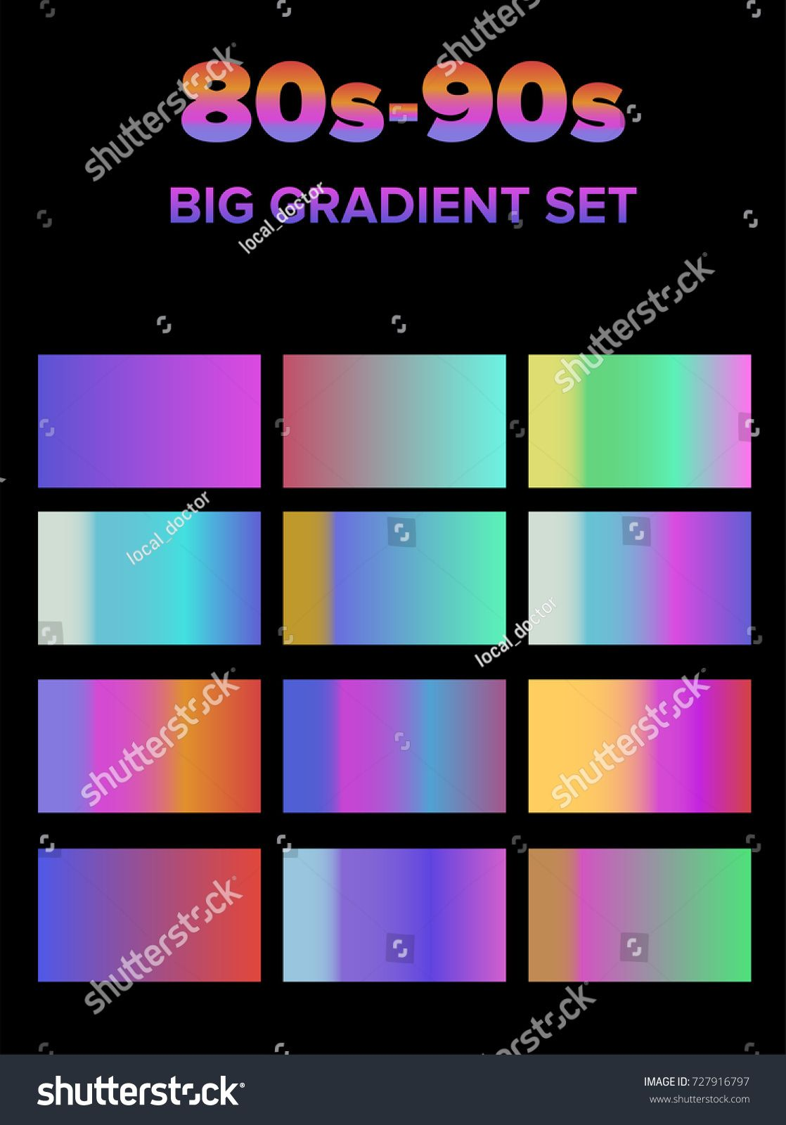 Retrowave holographic gradient big set  Pearly pastel colors