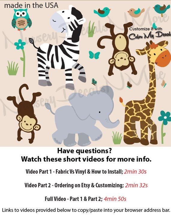 Jungle Animal Wall Decals Safari Full Size Wa Animals Evergreen Waa Nu
