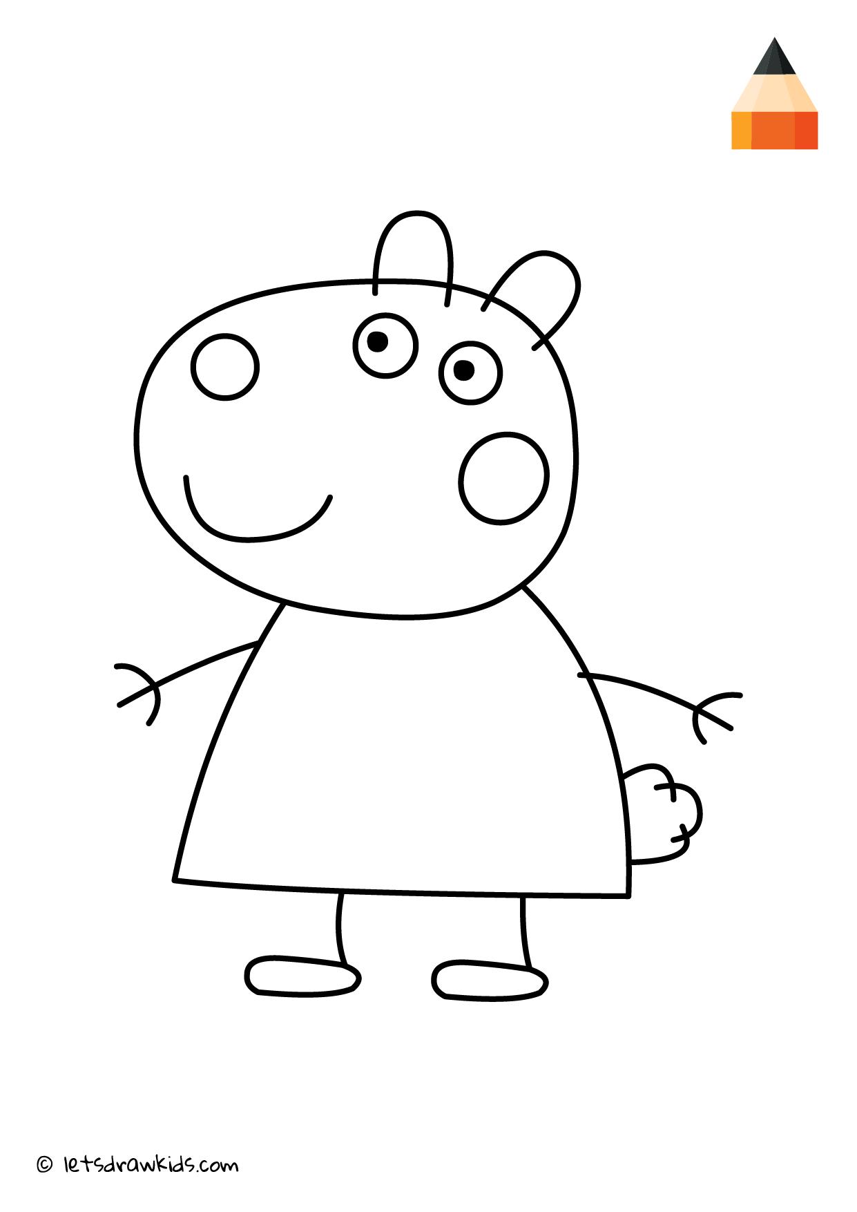 Coloring Page Peppa Pig Suzy Sheep Peppa Pig Drawing Peppa Pig Coloring Pages Pig Character