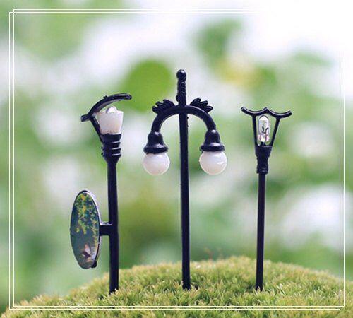 Photo of 3PCS Mini Street lamp Fairy Garden Accessories, Miniature Figure Minions Figurines Succulent Terrari