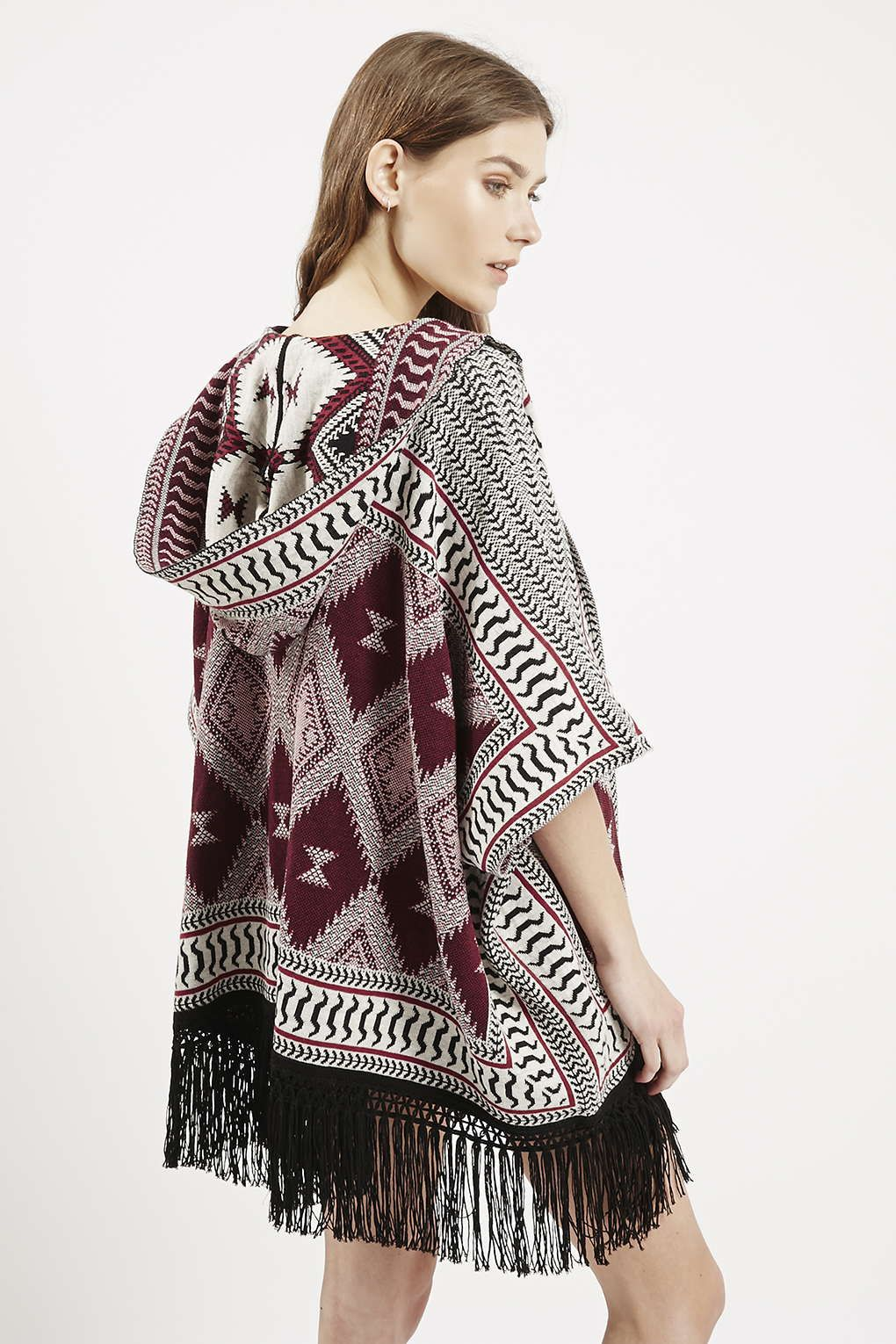 Patterned Hooded Fringe Cardigan | Topshop, Tribal fashion and Clothes