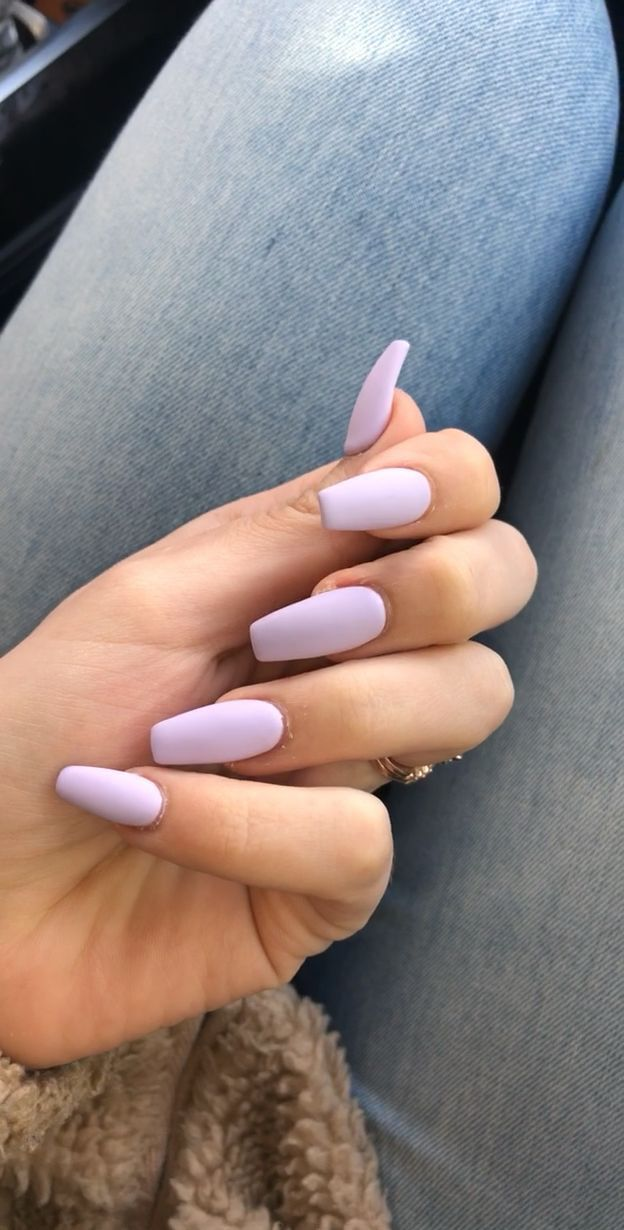 Matte purple acrylic nails – #acrylic #Matte #nails #Purple