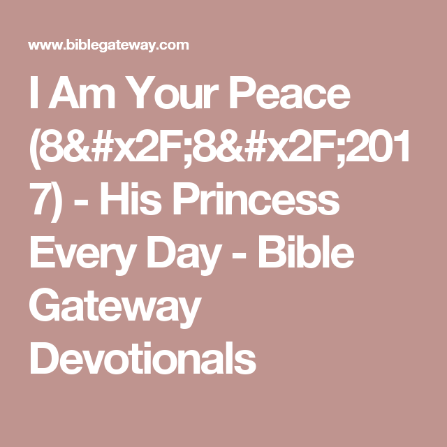 Bible gateway devotion of the day