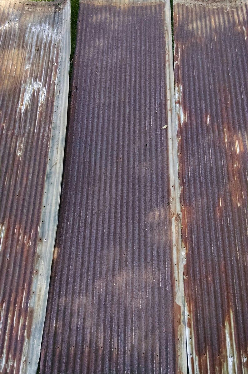 Rusty With Orange And White Reclaimed Corrugated Metal Roofing Etsy In 2020 Corrugated Metal Roof Barn Tin Corrugated Metal