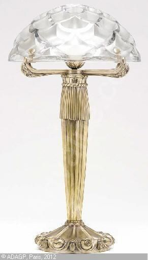 Art Deco. René Lalique, 1860-1945 (France)  Title : A Frosted & Clear Table Lamp pinned with Bazaart