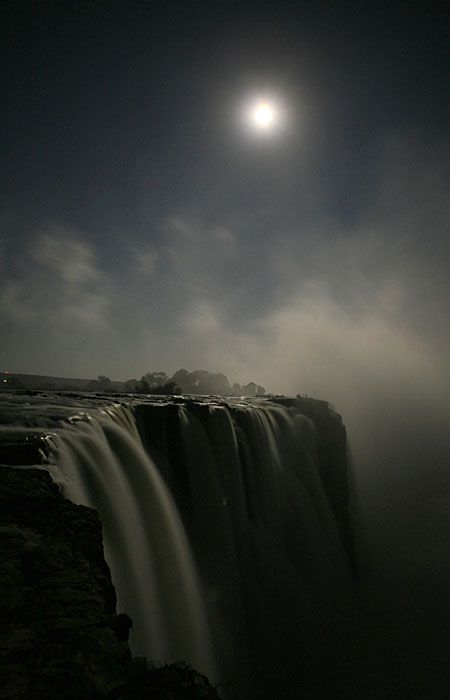 Full moon over the Victoria Falls.